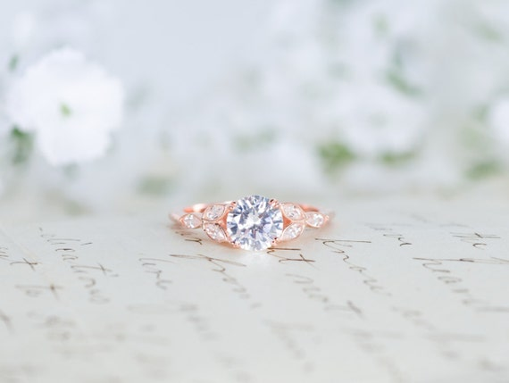 Rose Gold Engagement Ring - Art Deco Ring - Vintage Wedding Ring - Antique  Ring -