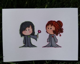 Severus and Lily Card, hand drawn, hand made, blank, Baby Harry Potter, birthday cards, slytherin, gryffindor, hufflepuff, ravenclaw, house