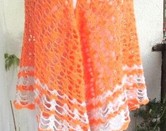 Hand Crochet Shawl  Handmade Shawl, Neon Orange Shawl,   Crochet Wrap, Boho Chic