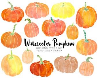 Watercolor Pumpkin Clipart. Hand Drawn Thanksgiving Pumpkins. Watercolour Pumpkin Clip Art. Orange Fall, Autumn, Halloween Watercolors.