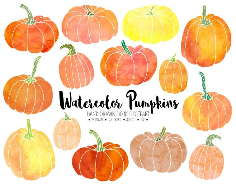 Watercolor Pumpkin Clipart. Hand Drawn Thanksgiving ...