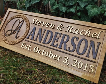 Personalized Christmas Gift Family Name Sign Couple Last Name Sign Established Valentines Day Gift Custom Wooden Sign Carved Wood Sign Gift