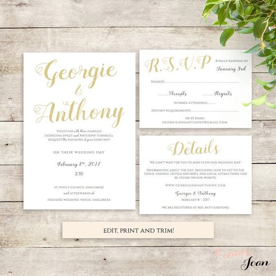 Wedding Invitation Set Printable Template Be Mine By