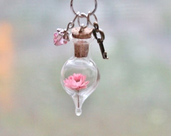 Rose Pink Terrarium Necklace Unique Gift Idea Real Dried Flower, Key Charm, Crystal Necklace, Glass Bottle Necklace Rose Pink Flower