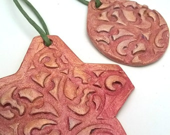 Ornament Holiday decor Clay Ornament Christmas Ornament Holiday Ornament handmade ornament set Christmas decoration red ornament
