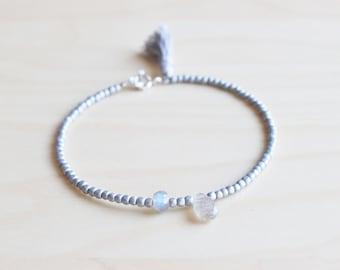 Hematit and labradorite bracelet / gemstone layer bracelet / beaded bracelet / tassel bracelet