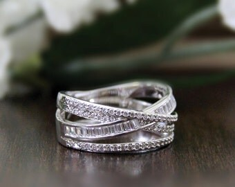 2.0 ct.tw Engagement Ring-Baguette+Brilliant Cut Pave Diamond Simulants-Cocktail Ring-Anniversary Ring-Promise Ring-Sterling Silver [7218]