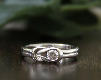 0.23 ct.tw Knot Split Shank Engagement Ring-Brilliant Cut Diamond Simulants-Bridal Ring-Promise Ring-Solid Sterling Silver [5919]