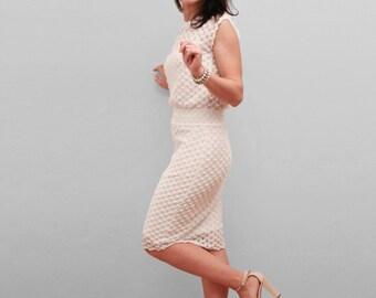 open back white pencil dress elegant dress lace dress knee dress