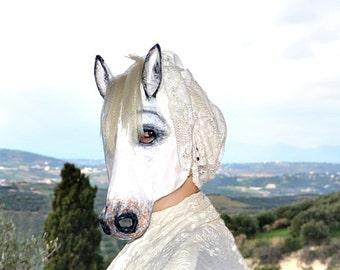 Horse Halloween mask  paper mask Paper mache Horse costume mask Horse mask Animal Horse mask Masquerade