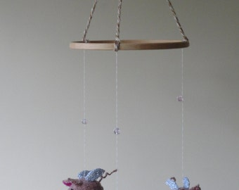 Knitted pigs on the Wing - Flying Pigs Mobile  - 3 little pigs - Hand knitted flying pigs - If pigs could fly mobile
