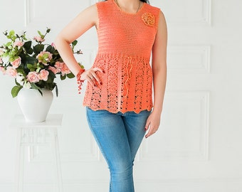 Openwork Knitted Top, Knit Blouse, Orange Knitted Blouse