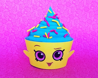 12 Cupcake Wrappers - Yellow Cupcake Queen inspired - for regular size cupcakes - Shopkins birthday party
