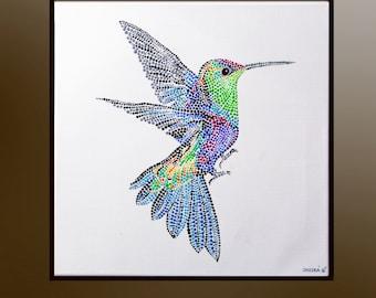 Flying Hummingbird, Acrylic painting, Hummingbird art, Original paintingon canvas , Bird