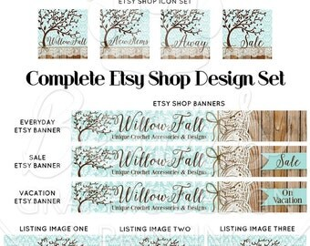 Custom Etsy Banner Set, Etsy Shop Banners, Cover Photo Design, Custom Etsy Shop Design, Etsy Graphic Design, Wood Banner, Shop Branding
