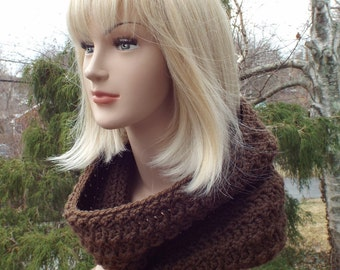 Chocolate Brown Cowl, Womens Crochet Neck Warmer, Textured Cowl, Ladies Circle Scarf, Chunky Cowl, Loop Scarf, Winter Accessories