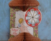 Vintage Beistle Fold Out Honeycomb Wheel of Love Mechanical Valentine Card