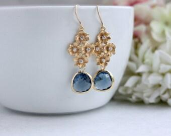Cherry Orchid Earring Blue Wedding Navy Blue Earrings Glass Gold Flower Earring Gold Cubic Zirconia Flower Bridesmaid Navy Blue Gold Wedding