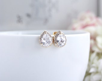 Gold Plated Bridal Wedding Studs Earrings, Lux Cubic Zirconia Post Studs, Bridesmaids Gifts, Bridal LUX CZ Drop 925 sterling Silver Post