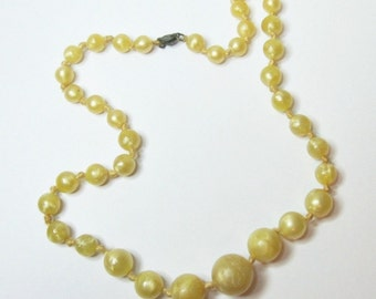 Vintage Early Plastic Bead Necklace - 18 In. - Sterling Clasp - Knotted - Graduated - Yellow - Shimmer - Marbled Look