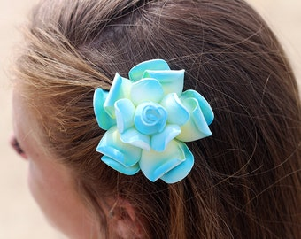 Gardenia Hair Clip, 3 Inch, Blue Hair Clips,   Bridal Hair Accessory, Gardenia, Wedding Hair Clip