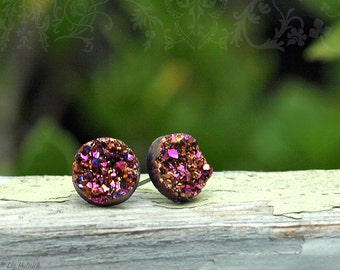 Rainbow Faux Druzy Earrings, Glitter Studs, 12mm, Titanium or Stainless Steel Posts