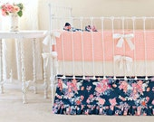 Navy Crib Bedding, Baby Girl Bedding, Navy Coral Nursery, Peach and Navy Crib Set, Custom Baby Bedding ,Stripe and Floral Nursery Decor