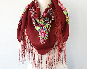 Burgundy fringe scarf Russian scarf Ukrainian shawl floral scarf Square winter scarf women fashion accessories gift for her