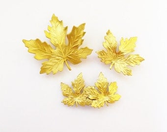 Autumn Hair Accessories Gold Maple Leaf Barrettes Bridal Clips Fall Bride Bridesmaids Garden Rustic Woodland Weddings Womens Gift For Her