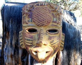 Terra Cotta Clay Mask Mayan Aztec Tribal Hawaiian Style Folk Art Wall Decor Decorative Gift Ideas