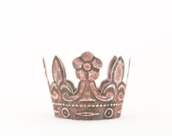 Pink Crown Cake Topper, Rustic Crown, Mini Crown, Princess Crown