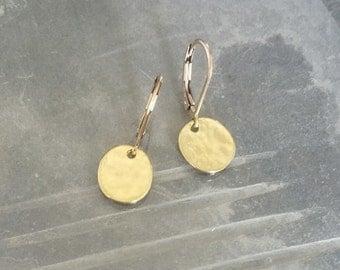 Disc Earrings, Gold Disc Earrings, Gold Small Disc Earrings, Small Disc Earrings, Gold Disc, Small Disc, Small Gold Earrings