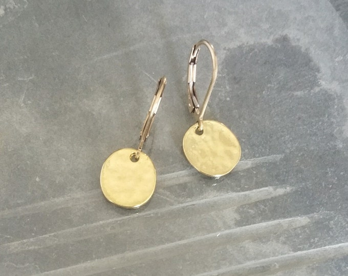 Small Gold Disc Earrings, Gold Disc Earrings, Small Disc Earrings, Disc Earrings