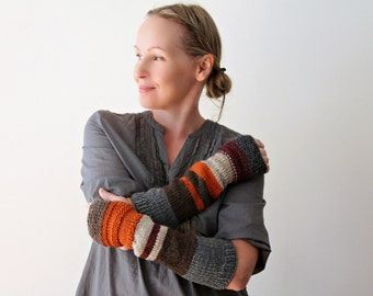 Urban rustic hand knit arm warmers / long fingerless mitts / long winter arm cozy / autumn color / pumpkin orange / earthy brown / soft gray