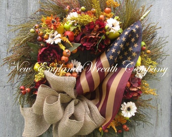 Patriotic Wreath, Americana Wreath, 4th of July Wreath, Memorial Day Wreath, Williamsburg Wreath, Flag Wreath, Tea Stained Flag Wreath