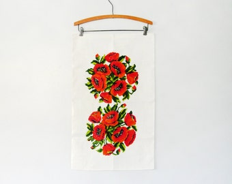 Mid Century Linen Towel / Wall Hanging - Pixelated Flowers