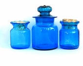 Vintage Blue Glass Apothecary Jars, 1960s Cerulean Blue Glass Storage Jars