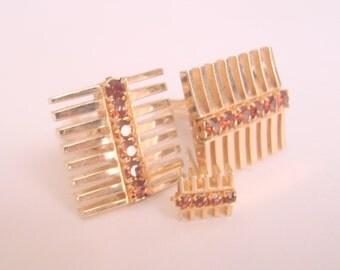 Jeweled Modernist Cuff Links Tie Clasp / Topaz Rhinestones / Mens Dress Set / 60s Vintage Jewelry / Jewellery