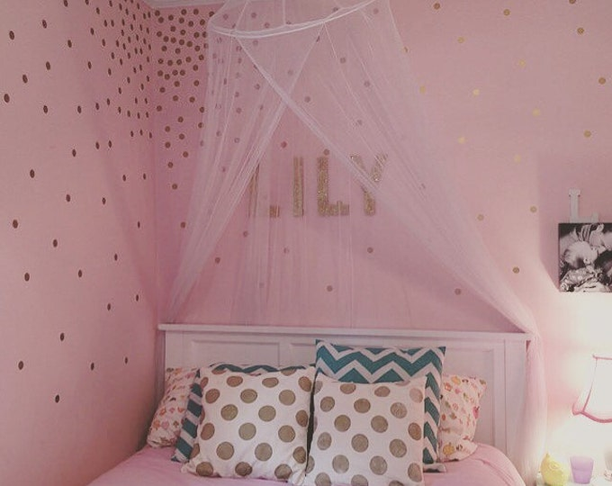 Gold Polka Dot Decals Vinyl Wall Decals Gold Dots Polka Dots Accent Wall Decals Nursery Decals Bedroom Decals Polka Dot Trendy Decals Gold