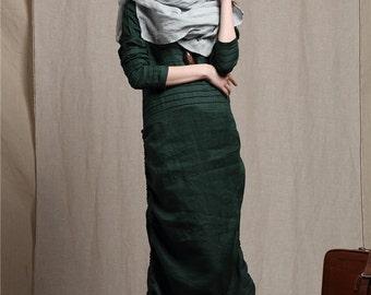 Grey Green Linen Scarf, Oversized Scarf, Ruffle Linen Scarf ,long Scarf ,chunky Scarf ,green Scarf - Limited Edition (leaf)