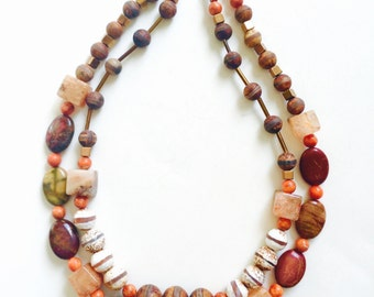Jasper necklace - Red Creek Jasper - Jasper Bead necklace - Natural Stone necklace - Boho Chic - Orange necklace, Earth tone