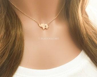 Rose Gold Baby Elephant Necklace, Elephant Jewelry, Personalized Elephant Necklace