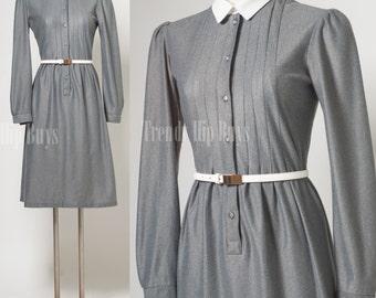Vintage 60s Dress, Vintage Gray Dress, Mad Men Dress, grey dress - S/M