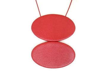 Leather Necklace Red Leather Double Disc Necklace  Statement Jewellery Cord Necklace Statement Necklace Gift for Her