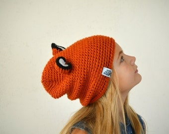 High quality crochet fox hat, hat with ears, fox costume, disney ears, kids fall outfits, animal hat, slouchy hat, children fun accessories