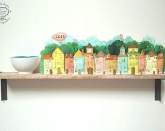 2018 Calendar | 3D Landscape Desk Calendar made of Paper | DIY Printable A4 template | Instant Download | Village Rustic Pretty Gift Shelf