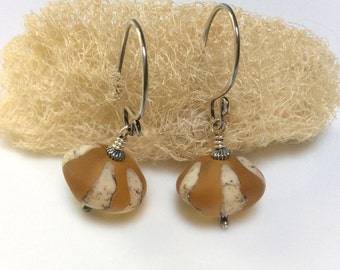 Golden Yellow Glass Earrings / Lampwork Glass Earrings / Sterling Silver Earrings / Amber and Ivory Glass Earrings /
