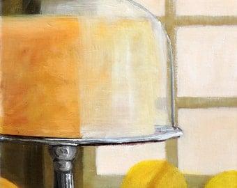Lemon Cake Original Oil Painting Bright Window Lemons Cake Under Glass Silver Cake Stand Happy Art by Tina Petersen