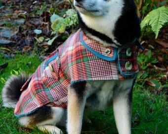Wool Dog Coat in Tangerine