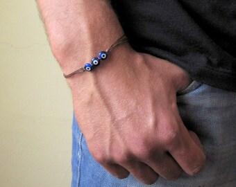 Men's Evil eye Bracelet - Men's protection Bracelet - Men's Brown Bracelet - Men's Jewelry - Adjustable Men Bracelet  - Jewelry For Men